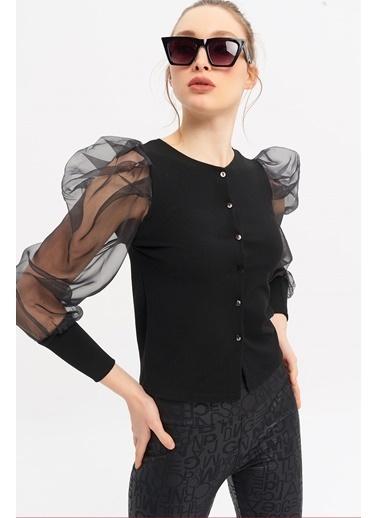 ESQ Önü Düğmeli Organize Balon Kol Bluz Siyah